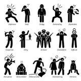 Traços de caráter negativos Clipart das personalidades ilustração do vetor