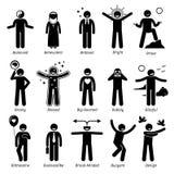 Traços de caráter positivos Clipart das personalidades ilustração stock