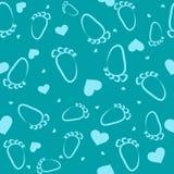 Traços de descrição sem emenda de pés e de corações em uns desenhos animados, criança Imagem de Stock