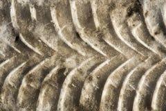 Traços diagonais de pneus de carro em uma neve suja imagem de stock royalty free