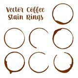 Traços dos anéis da mancha do café ou do café das ilustrações do vetor dos copos ilustração do vetor