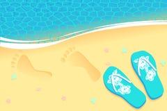 Traços na areia Fotos de Stock Royalty Free