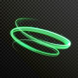 Traînée brillante de trace de pirouette de vecteur vert de lampe au néon illustration libre de droits