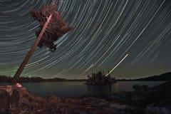 Traînée d'étoile des eaux de frontière Photographie stock