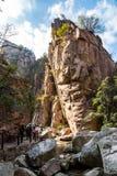 Traînée de Bei Jiu Shui en automne, montagne de Laoshan, Qingdao, Chine photo stock