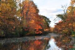 Traînée de canal de New Jersey dans des couleurs d'automne Images libres de droits