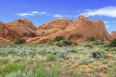 Traînée de jardin de diables, voûtes parc national, Utah images libres de droits