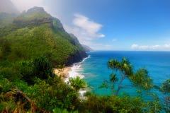 Traînée de Kalalau dans Kauai, Hawaï Images libres de droits