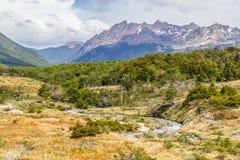 Traînée de Laguna Esmeralda avec la forêt, le courant et les montagnes Images libres de droits