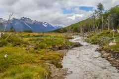 Traînée de Laguna Esmeralda avec la forêt, le courant et les montagnes Photo stock