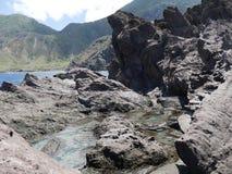 Traînée de piscine de marée, Saba Photographie stock libre de droits