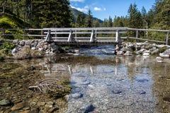 Traînée de pont en bois au lac Morskie Oko, Pologne Photographie stock