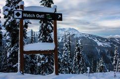 Traînée de ski de diamant noir chez Whistler Images libres de droits