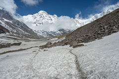 Traînée de trekking au camp de base d'Annapurna, ABC, Pokhara, Népal photo stock