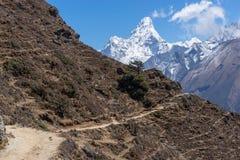 Traînée de trekking au village de Khumjung, région d'Everest Photos stock