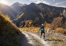 traînée fonctionnant dans les montagnes photos libres de droits
