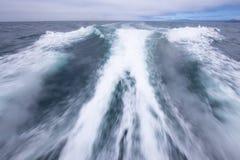Traînée laissée le bateau à la grande vitesse photos stock