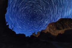 Traînées d'étoile de cercle au parc national de voûtes Photo stock