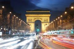 Traînées d'Arc de Triomphe et de lumière, Paris Photographie stock libre de droits