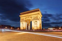 Traînées d'Arc de Triomphe et de lumière, Paris Image libre de droits