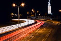 Traînées d'un état à un autre de lumière de Baton Rouge Photos stock