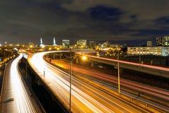 Traînées d'un état à un autre de lumière d'autoroute à Portland Images libres de droits