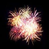 Traînées de feu d'artifice en ciel de nuit, célébration Image libre de droits