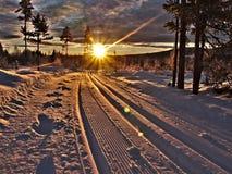 Traînées de ski avec des faisceaux du soleil images libres de droits