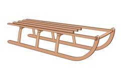 Traîneau canadien en bois - brun Images stock