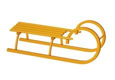 Traîneau canadien en bois - jaune Photo libre de droits