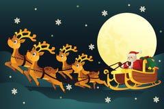 Traîneau d'équitation de Santa avec des rennes Photos stock