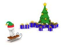 traîneau d'équitation du caractère 3D vers l'arbre de Noël avec des cadeaux Image stock