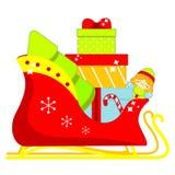 Traîneau de Santa complètement des cadeaux de Noël Illustration d'isolement de vecteur pour la conception de nouvelle année image stock