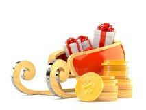 Traîneau du ` s de Santa avec la pile de pièces de monnaie illustration libre de droits