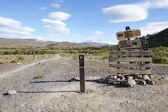Traînez au parc national de Torres del Paine, Patagonia chilien, Chili image libre de droits