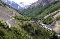 Traînez au parc national de Torres del Paine, Patagonia chilien, Chili images libres de droits