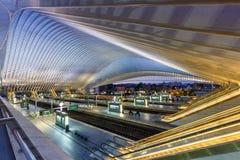 Tra платформы залы железнодорожного вокзала поезда Бельгии Liege Guillemins Стоковая Фотография RF