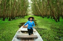 Tra Su靛蓝森林,越南生态旅游 图库摄影