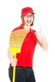 Trabajador adolescente entusiástico Foto de archivo