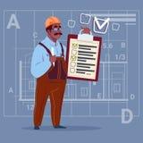 Trabajador afroamericano de Hold Checklist Construction del carpintero del constructor de la historieta sobre fondo abstracto del ilustración del vector