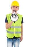 Trabajador aislado con el casco Imagenes de archivo