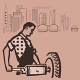 Trabajador americano stock de ilustración