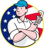 Trabajador americano del fontanero con la llave ajustable stock de ilustración