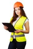 Trabajador atractivo con el chaleco del reflector Imagen de archivo libre de regalías