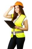 Trabajador atractivo con el chaleco del reflector Foto de archivo libre de regalías