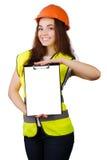 Trabajador atractivo con el chaleco del reflector Foto de archivo