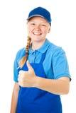 Trabajador bastante adolescente - pulgares para arriba Imagen de archivo