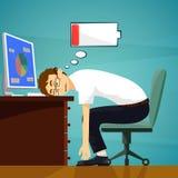 Trabajador cansado en el lugar de trabajo Carga baja de la batería existencias ilustración del vector