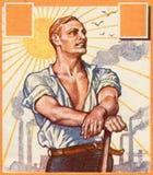 Trabajador. Cartel alemán viejo. Imagen de archivo