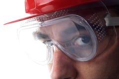 Trabajador con el casco Imágenes de archivo libres de regalías